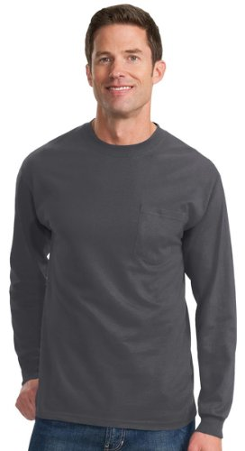 Port & Company Men'S Big And Tall Long Sleeve Pocket T-Shirt_Charcoal_4Xlt