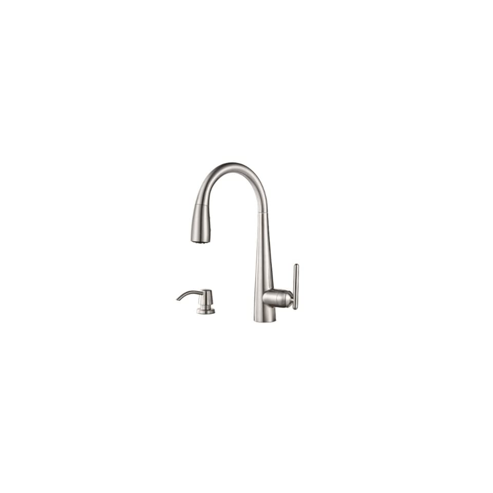 Pfister GT529 SMS Lita Single Handle Pull Down Kitchen Faucet with Soap Dispenser, Stainless Steel