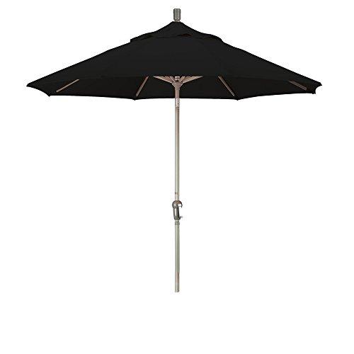 California Umbrella 9' Round Aluminum Pole/Ribs, Crank Lift/Auto Tilt, Champagne Pole, Pacifica Black Fabric