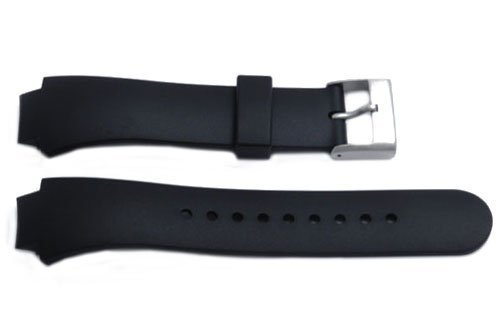 Genuine Synthetic Rubber Black Durable 16/22Mm Watch Strap By Swiss Army