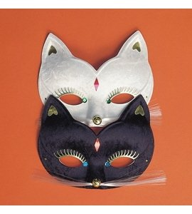 Pussycat Kitty Cat Economy Domino Mask (random color) Costume Accessory