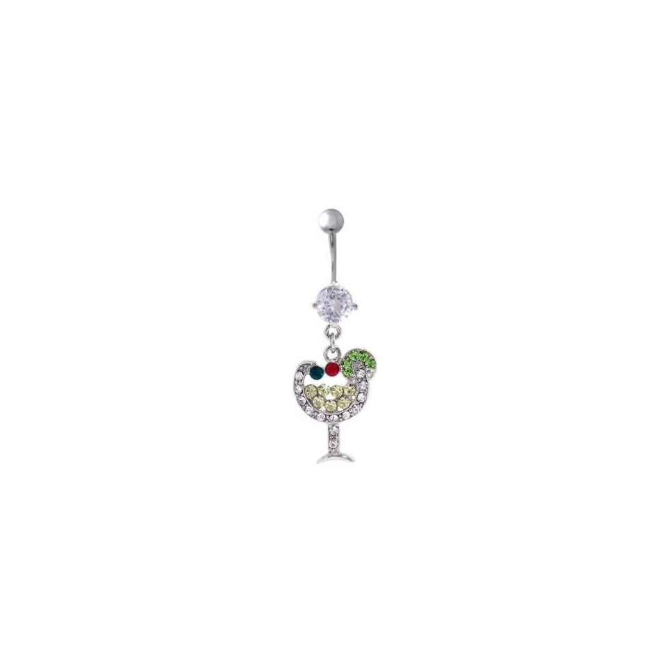 316L Surgical Steel   Clear Crystals Wine Glass Cocktail Hour Belly Ring   14g 7/16 Length   Sold Individually