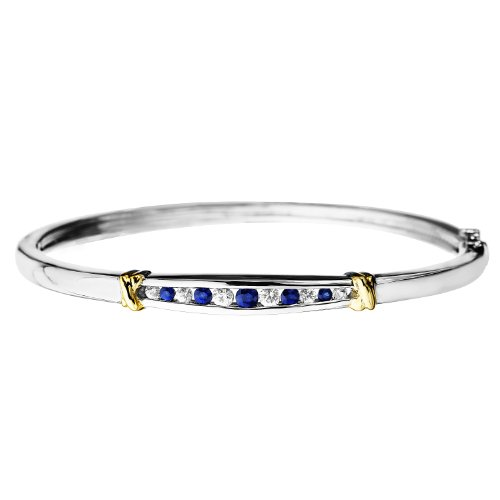 Sterling Silver and 14k Gold Blue and White Sapphire
