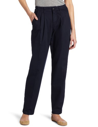 Lee Women's Relaxed Fit Side Elastic Pleated Pant, Navy, 18