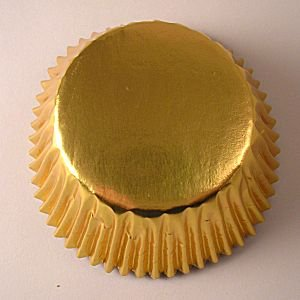 De envoltorios para cupcakes - de aluminio dorada - 100 unidades