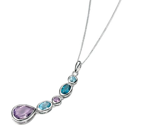 Elements Sterling Silver, Ladies, P3744, Amethyst, Blue Topaz and London Blue Topaz Drop Pendant of Length 41cm