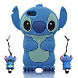 3D Blue Stitch & Lilo ipod touch 4 Soft Silicone Case Cover With 3D Stitch Stylus Pen For itouch 4g 4th Generation