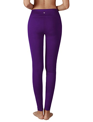 Yoga Reflex Women's Active Yoga Running Pants Workout Leggings - Hidden Pocket , Purple , Large