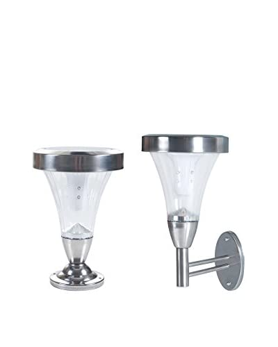 Pure Garden Set of 2 Outdoor Wall or Post Mount Solar Lights