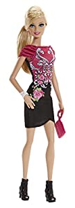 Fashionista Barbie Doll, Black and Pink Floral Dress from Barbie