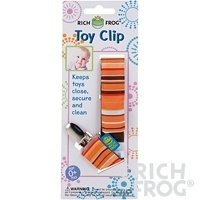 Rich Frog Toy Clip or Pacifier Holder - Pink, Blue or Orange (Orange) - 1