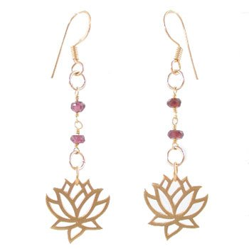 Open Design Lotus Blossom Flower Dangle Earrings in Gold Vermeil with Garnet Gemstone Beads, #8164
