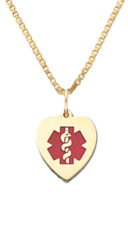 14K Yellow Gold Medical Alert Id Heart Pendant And 20 Inch 1Mm Box Chain Necklace