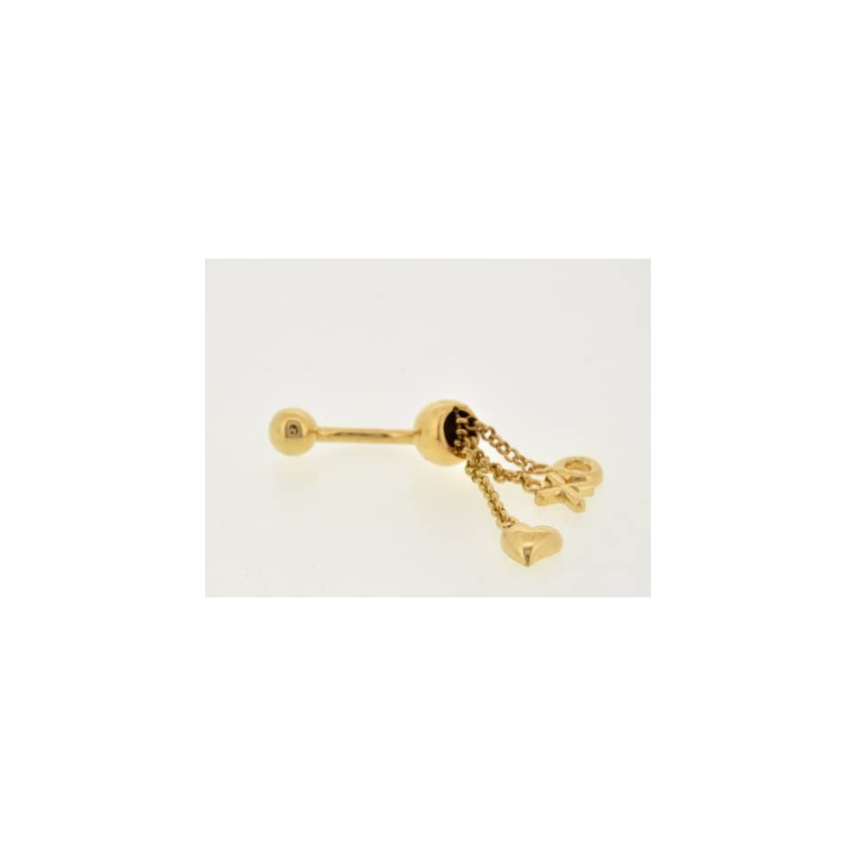 14k Yellow Gold Hearts, Hugs and Kisses Belly Ring