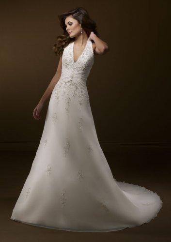 Delicate Chiffon Halter Wedding Gown