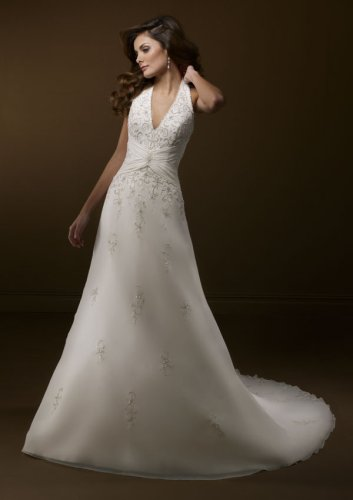 Delicate Chiffon Halter Wedding Gown