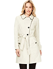 M&S Collection Single Breasted Tipped Belted Mac