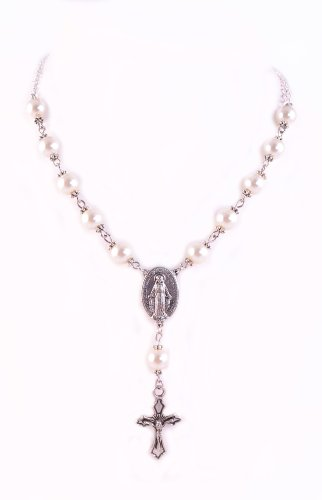 Rosary Necklace Pearl One Decade Miraculous Medal Crucifix Necklace June Birthstone