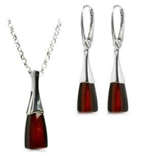 Black Cherry Amber and Sterling Silver Modern Set Leverback Earrings Necklace 18