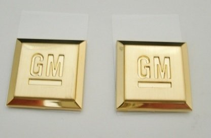 Gm Shield Emblem Of Excellence Gold Palted 24K Gm Squares Small Size For Cars Pair (Cadillac Emblem Gold compare prices)