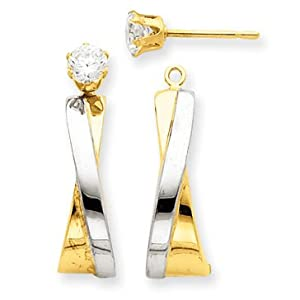 14k Yellow Gold J-Hoop with CZ Stud Earring Jackets. Gold Wt- 1.19g.