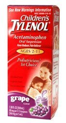 Children's Tylenol Fever Reducer & Pain Reliever, Ages 2-11, Grape 3.38 fl oz (100 ml)