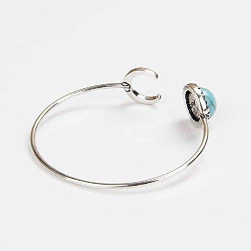 Neverland 1pcs Bohemian alliage d argent Lune Turquoise en forme ethnique Boho Gypsy Cuff Bracelet Bangles