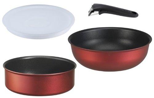 Tefal Ingenio 5 Küchen-Set, 4-teilig (Kochtopf, Wok, Spritzgussdeckel, Griff), Antihaftschicht, Aluminium, auch für Induktionsherd (L3219902), Rot
