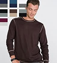 Canvas Long Sleeve Contrast Stitch Lombard Thermal T-Shirt - 3500 - Maroon/Silver 3500 S
