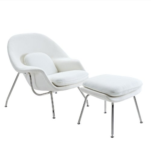 2 Pc Modern Lounge Chair & Ottoman Set (White)