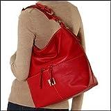 Dooney Bourke Calf Leather Medium Zipper Pocket Sac Bag Purse Tote Red