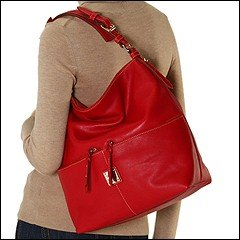 Dooney Bourke Calf Leather Medium Zipper Pocket Sac Bag Purse Tote Red