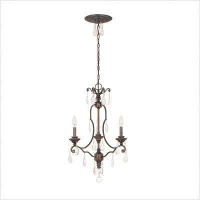 World Imports Lighting 2943-66 Palermo 3-Light Chandelier, Mediterranean Patina finish with clear teardrop crystals