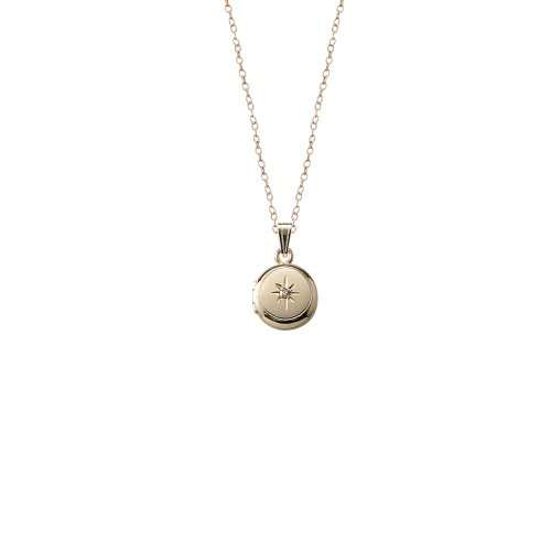 Children's 14k Gold-Filled Genuine Diamond Polished Round Locket Necklace, 13