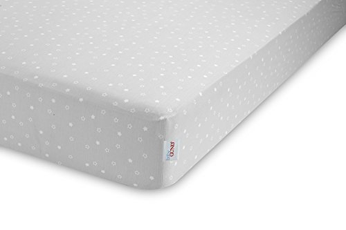 GUND Babygund Twinkle Twinkle Sateen Crib Sheet, Twinkle Twinkle - Golly Grey, 28'' By 52''