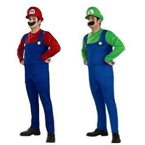 スーパーマリオブラザーズ マリオ & ルイージ セット (帽子・つけひげ付) コスチューム 男女共用 165cm-178cm