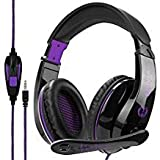 2017 New Updated Gaming Headphones,A9 3.5mm Stereo Sound Wired Professional Computer Gaming Headset with Microphone,Noise Isolating Volume Control for Pc/Mac/Ps4/Phone/Table(Black Purple) (Color: A9purple)