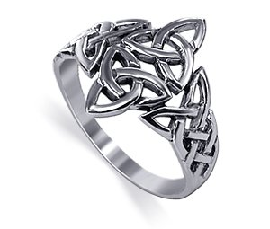 LWRS099-9 Sterling Silver 40 x 30mm Double Triquetra Celtic Knot Design Polished Finish 3mm Band Ring Size 9