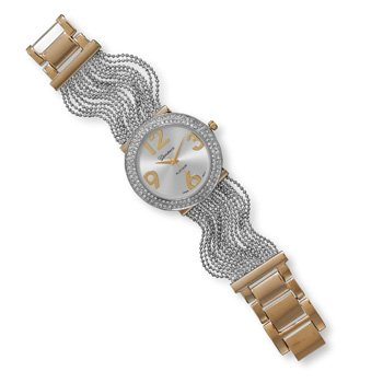 """Two Tone Multistrand Fashion Watch 7.5"""" Two Tone Multistrand Faceted Bead Band Fashion Watch. The Silver Tone Band Is Approximately 24Mm Wide. The Round Case Is 40Mm, With Gold Tone Accents And A Double Row Of Clear Crystals Around The Edge. The Watch Fac"""