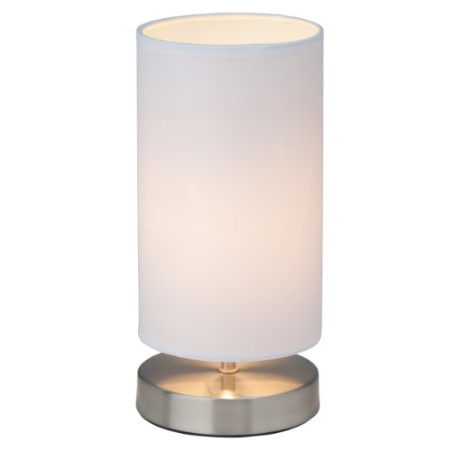 Clarie - Lampada da tavolo con paralume in tessuto, 1x E14, max 40 W, in ferro e tessuto moderno bianco