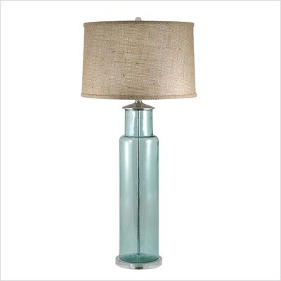 Lamp Works Blue Recycled Glass Cylinder Table Lamp