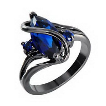 Pixel Jewelry 1985 - Size7 Marquise Cut Blue Sapphire Gem Wedding Promise Ring Black Gold Filled