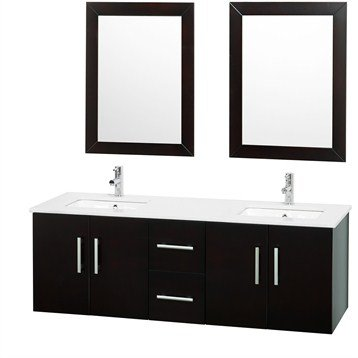 Brooke 59 Inch Double Bathroom Vanity Set - Espresso
