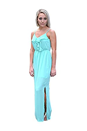Roxie Ruffled Maxi Dress - Mint Large