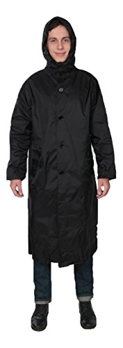 Fit Rite Men's 100% Nylon Raincoat-Zip in Hood-With Travel Pouch XL Black