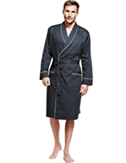 Pure Cotton Lightweight Piped Dressing Gown