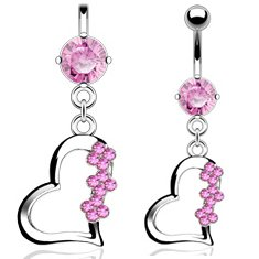 Jewellery Sleuth Solid Titanium Shaft Belly Bar with Pink CZ Heart Dangle