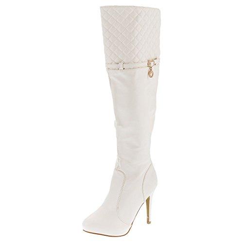 Sergio Todzi Damenstiefel NEU Sexy High Heels Overknees Stiefeletten Boots Pumps Stiletto (36, Weiß)