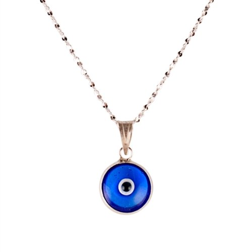 Evil Eye Pendant Necklace Sterling Silver with Blue Murano Glass Lucky Eye for Protection
