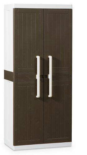Z246R026 Kunststoffschrank Wood Line L, Besenschrank - Art 246, braun